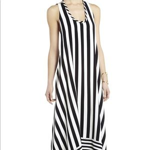 BCBG Max Azria Gia Black White Maxi Silk Gown 6